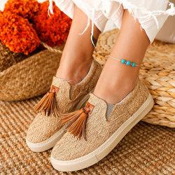 Kvinnor Tassel Fringe Platform Ladies Flat Heel Slip on Skor 38