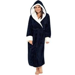 Ladies Hooded Long Sleeve Robe Gown Fleece Housecoat Nightwear Black M