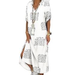Kvinnors färgrika stjärntryck skjortklänning Casual Beach Letter 3XL