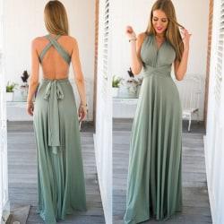 Ladies Long Wrap Dress Party Multiway Maxi Dress Ljusgrön S