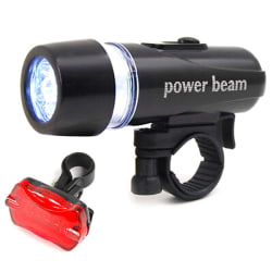 LED-cykelcykel Fram Bak Bak Bakljus Power Beam Black