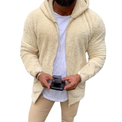 Man Casual Winter Teddy Bear Fleece Hoody Jacket Coat Top Apricot M