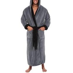 Herr Hooded Casual Solid Loungewear Badrock Klänning Nattkläder