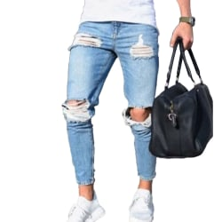 Herr Rippade Skinny Jeans Denimbyxor Fritidsbyxor utomhus L