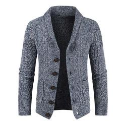 Enkelbredd herrstickad kofta tröja jacka för män Gray blue M