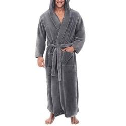 Vintervarm herrklänning med långa morgonrockar Badrock Grey 3XL