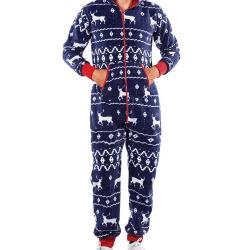 Män Warm Baggy Casual Hooded Pyjamas Jumpsuit Loungewear Outfit Fawn Blue L