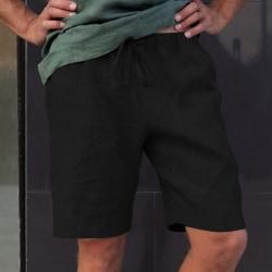 Mens elastiska midja shorts Casual shorts Combat arbetsbyxor Black 3XL