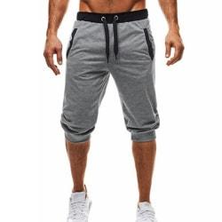 Mäns Casual Shorts 3/4 Joggerbyxor Knäshorts Ljusgrå M