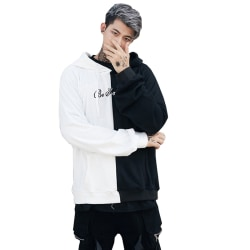 Män Hoodie Hip-Hop Skateboard Sweatshirt Blus Pullover Toppar Black + White S