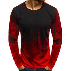 Huvtröja med luvtröja för män Mens toppar Långärmad tröja röd
