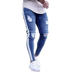 Mens Ripped Stretch Jeans Denim Pants Casual Byxor utomhus Light Blue L