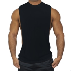 Ärmlös sportväst för män Casual Gym T-Shirts Toppar Svart