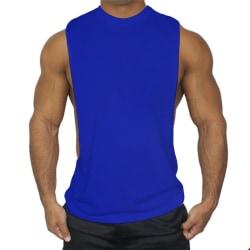 Ärmlös sportväst för män Casual Gym T-Shirts Toppar Blå XL