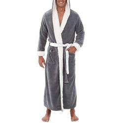 Mens mjuk fleece huva Loungewear badrock klädsel Grey 2XL