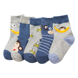 Monkey Banana Cute Animal Baby Sock Kids Strumpa för 0Y-5Y Random M