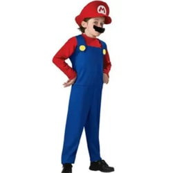 Party Kids Anime Cosplay-kostym Super Mario Långärmad Red L