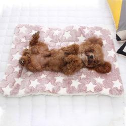 Valp husdjur filt katt säng madrass mjuk varmare matta Pink Star 49*32cm