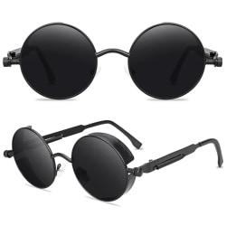 Runda objektivsolglasögon Fashion Circle Ozzy Hippie-glasögon Black Frame Black Lenses 3 Pack