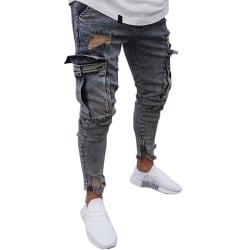 Snygga män Slim Skinny Pants Destroyed Ripped lightblue 2XL