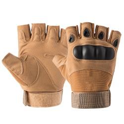 Tactical Hard Knuckle Half Finger Handskar Army Military Airsoft Sand Color L