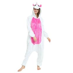 Unisex vuxen Onesie pyjamas plysch en bit rosered M
