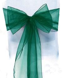 Vit stolinredning Organza-skärpbåge designad för evenemang Dark Green 50 Pack