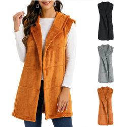 Winter Plush Jacket Fashion Vest Coat Hooded Cardigans Grey XL