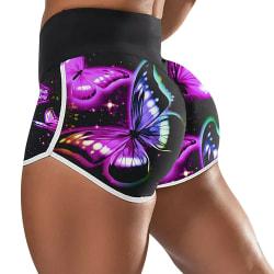 Kvinnor fjäril tryck hög midja yoga shorts gym heta byxor Black 3XL