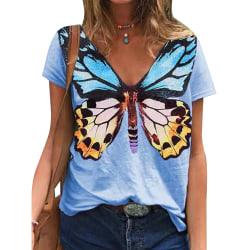 Kvinnor fjäril tryck kortärmad T-shirt blus topp blå