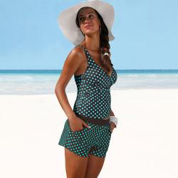 Kvinnor Dot badkläder Tankini Bikini Set baddräkt jasper L