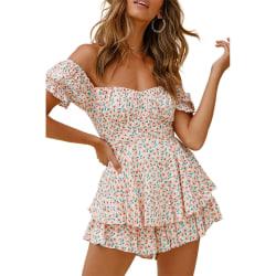 Kvinnor blommig off Shoulder Playsuit Romper Shorts Ruffle Jumpsuit Pink XL