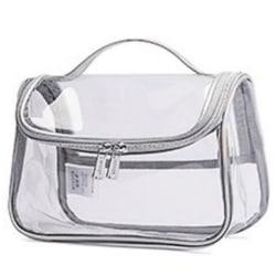 Kvinnor Dam Mode Transparent Kosmetisk väska Liten Protable Colorful silver