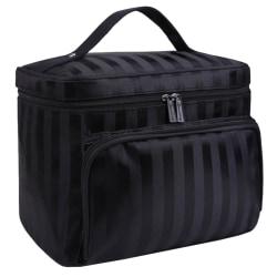 Damer randiga dragkedjor bärbara kosmetiska väskor handväskor Black