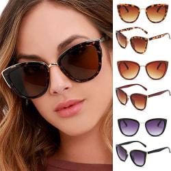 Kvinnor Katt Eye Solglasögon Skugga Sun Leopard Shadow Glasses Black 1 Pack