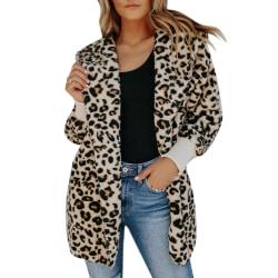Kvinnor Leopard långlångt tryck guld sammet kofta rockar Leopard XL