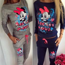 Kvinnor Mickey Mouse Print Fashion Disney Hoodies Sets Navy Blue S
