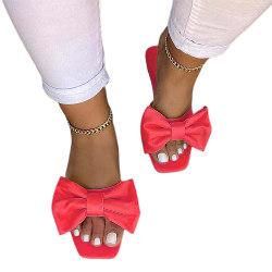 Kvinnor Mules Slip On Sandaler Bow Summer Comfy Skor Röd