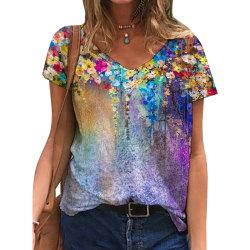 Damblommig V-ringad kortärmad T-shirt Casual Top Purple