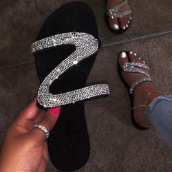 Tofflor för kvinnor Glitter Crystal Sandaler Silver 40