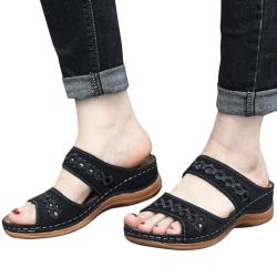 Dam Sandaler Mode Kilar Skor Sandaler Flip Flop Black 39