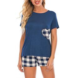 Kvinnor Kortärmad pyjamaset Hjärttryck Loungewear Blue S