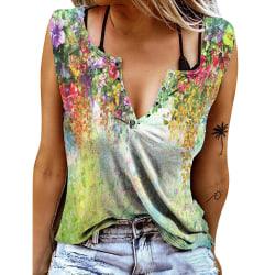 Kvinnor ärmlös V-ringad väst T-shirtblus Casual linne