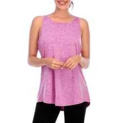 Kvinnor Ärmlös Väst Yoga Sport Gym Top Plain Shirt Pink M