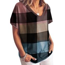 Kvinnor T-Shirts Blus Sommar Lös Casual Pullover Kvadrat