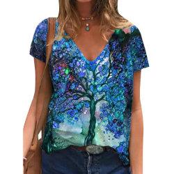 Kvinnor Tree V-ringad T-shirt Kortärmad tröja Casual Toppar Blue M