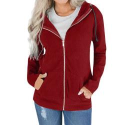 Kvinnor Winter Warm Hooded Zipper Jackor Coat Kinnor Hoodies