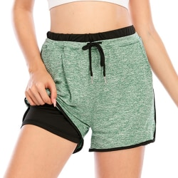 Kvinnor Yoga Shorts Sports Gym Casual Byxor Underdelar Grön Green L