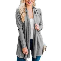 Kvinnors kofta långärmad öppen front draperad tröja damer Gray L