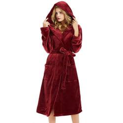 Dambadrock Fleece Badkläder Nattklänning Bekväm Red L